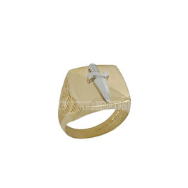 Anello da uomo  in oro bicolore giallo e bianco 18 kt con spada prezzi outlet sconti
