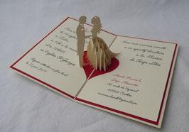 Faire-part Pop-Up Mariage en robe blanche texte sur mesure - Faire-part kirigami