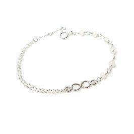 Brautschmuck - Perlenarmband mit einer Sterling Silber Infinity und Rosenquarz RoseQuarz