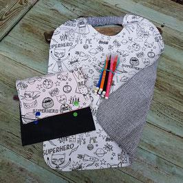 serviette coton artisanale a colorier avec pochette et feutres ultra lavables