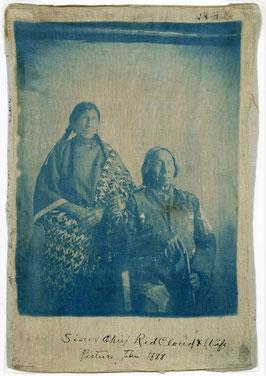 Red Cloud und Ehefrau, Druck auf Seide