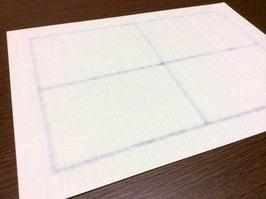 耳付きになる紙表面に刷毛目のようなすだれ柄が入った、手漉き和紙のA4ラベル用紙