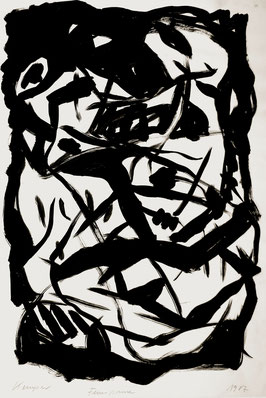 Feuerpause, 100/70 cm, Acrylfarbe auf Papier, 1987