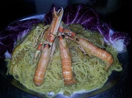 Spaghetti scampi e carcioffi