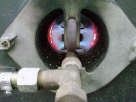 Blick in die Brennkammer einer kleinen NVA Feldküche