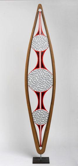Bois / fil de fer / soudures / papier - hauteur: 185 cm (atelier)