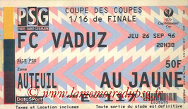 Ticket  PSG-Vaduz  1996-97