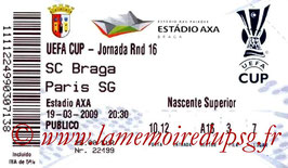 Ticket  PSG-Braga  2008-09