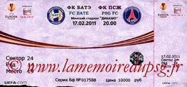 Ticket  Bate Borisov-PSG  2010-11