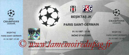 Ticket  Besiktas-PSG  1997-98