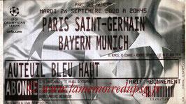 Ticket  PSG-Bayern Munich  2000-01