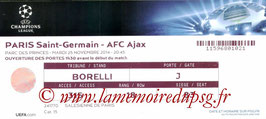 Ticket  PSG-Ajax  2014-15