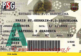 Ticket  Barcelone-PSG  1994-95