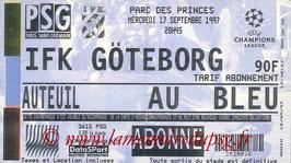 Ticket  PSG-Goteborg  1997-98