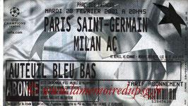 Ticket  PSG-Milan AC  2000-01