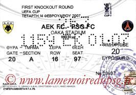 Ticket  AEK Athènes-PSG  2006-07