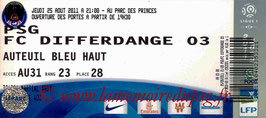 Ticket  PSG-Differdange 2011-12
