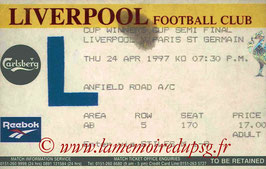 Ticket  Liverpool-PSG  1996-97