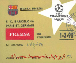 Ticket presse  Barcelone-PSG  1994-95