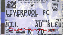 Ticket  PSG-Liverpool  1996-97