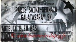 Ticket  PSG-Galatasaray  2000-01