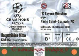 Ticket  Bayern Munich-PSG  2000-01