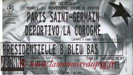 Ticket  PSG-La Corogne  2000-01