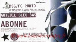 Ticket  PSG-FC Porto  2004-05