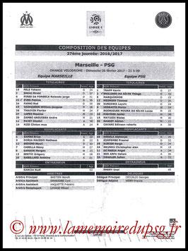 Feuille de match  Marseille-PSG  2016-17