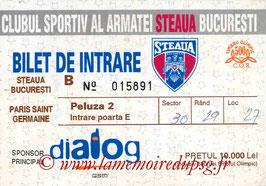 Ticket  Steaua Bucarest-PSG  1997-98