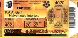 Ticket  Genk-PSG  2001-02