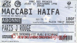 Ticket  PSG-Maccabi Haïfa  1998-99