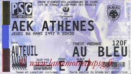 Ticket  PSG-AEK Athènes  1996-97