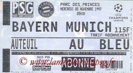 Ticket  PSG-Bayern Munich  1997-98