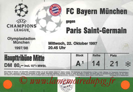Ticket  Bayern Munich-PSG  1997-98