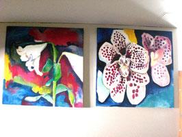 Lilie und Orchidee 100X100 cm