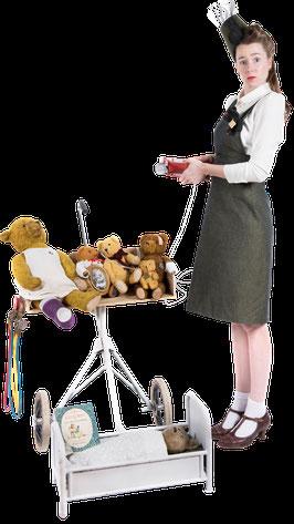 straattheater, steiff, teddybeer, lappie lapstok