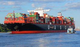 Containerschiff u.a. mit Früchten an Bord
