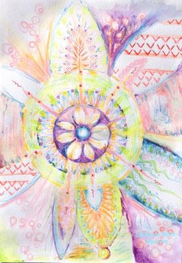 dessin intuitif, severine saint-maurice, lescerclesdelumiere.com, mandala, rosace, fleur, crayon de couleur
