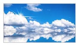 """Bildheizung """"Wolkenlandschaft"""", 600 Watt, 110x60cm, hier mit Silberrahmen matt, zum vergrößern anklicken!"""