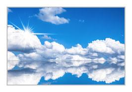 """Bildheizung """"Wolkenlandschaft"""", 450 Watt, 90x60cm, hier mit Silberrahmen matt, zum Vergrößern anklicken!"""