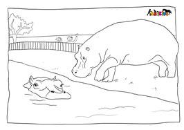 ANIKIDS Malvorlage Flusspferd