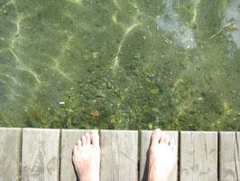 Der glasklare Millstätter See - genau das Richtige, um sich bei 33°C abzukühlen!