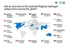 Una mappa del mondo che indica il numero di progetti pilota nel campo dell'idrogeno