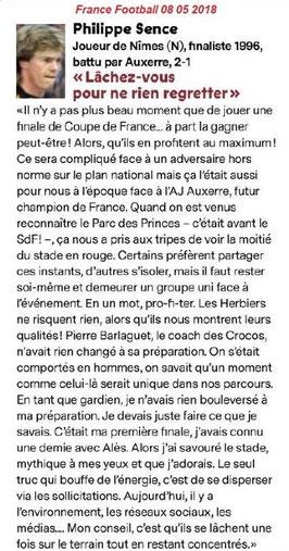 Les conseils de Philippe Sence avant la finale de la Coupe de France : Les Herbiers vs P. S. G.
