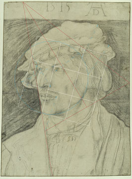 (36) Albrecht Dürer, Portrait of a Young Man, 1515, charcoal on paper, composition lines in pen in brown, 37 x 27.5 cm, inv. no. KdZ 1528, Kupferstichkabinett / Staatliche Museen zu Berlin