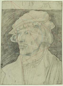 (36) Albrecht Dürer, Ritratto di giovane, 1515, carboncino su carta, linee perimetrali con penna marrone, 37 x 27,5 cm, n. invent. KdZ 1528, Gabinetto delle incisioni su rame / Staatliche Museen Berlino