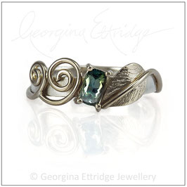 Leaf Ring with Gemstone Engagement Ring