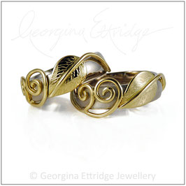 Leaf & Two Tendril Wedding Rings Set