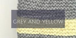 Loopschal in grau und gelb